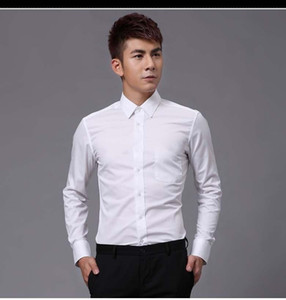 Hight Quality White Cotton Long Sleeve Groom Shirt Men Small pointed collar fold Formal Occasions Dress Shirts NO:01