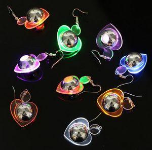 Fashion Heart Shape Led Flashing Earrings Luminous Bright Ear Stud for Christmas Halloween Dance Club Party Event Wedding Birthday Gift
