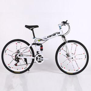 26 дюймов Складной горный велосипед 21 скорость двухдисковый тормоз велосипед 10 нож колесо горный велосипед Складной велосипед подходит для взрослых