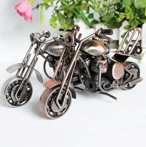 2019 15 cm Motorcycle Model Retro Motor Figurita Decoración de Metal Hecho A Mano de Hierro Motocicleta Prop Vintage Home Decor Kid Toy