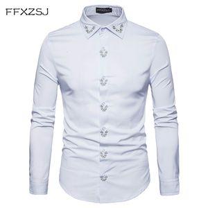 FFXZSJ marque printemps Royal Court Style solide Floral brodé solide robe revers chemise Slim Fit occasionnel à manches longues hommes chemise