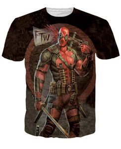 Wholesale Deadpool anime cosplay adult 3D T-shirt hot selling movie blouse party big plus party free shipping