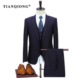 TIAN QIONG New Arrival High Quality Purple Wool Men's Weding Dress,one Button Casual Suit Men, Men's Business Suits Tuxedo 3 Pcs