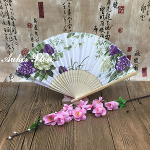 Janpanes Style Flower Cloth Hand Folding Fan Sakura Cloth Folding Craft Fan Wedding Favors Gift Hand Bamboo Fan+DHL Free Shipping