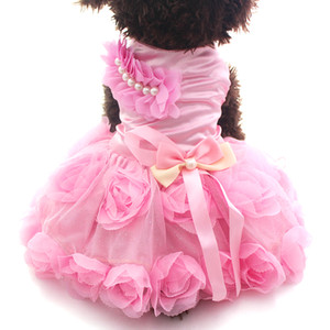 Small Dog Cat Princess Dress Shirt Rosette&Bow Design Puppy Dresses Skirt Spring Summer Outfit Clothes Apparel 2 Colours 6 sizes