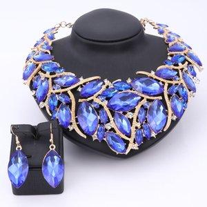 Conjuntos de Jóias Beads Africanos Para As Mulheres Acessórios de Casamento Nupcial de Cristal Pingente Declaração Colar Brinco Resina Gem Conjunto de Jóias