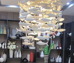 Personnalisable BENCHER Simple Mode Créatif Blanc Lampe De Poisson En Céramique Salle À Manger Lustres Éclairage Décoration Lampes Pendantes