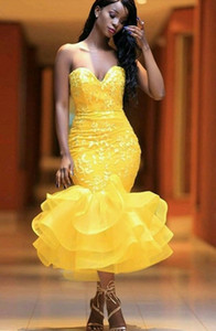 Sexy Yellow Cocktail Dresses Sweetheart Lace Applique Tea Length Ruffles Skirt Evening Dress African Girl Prom Gowns