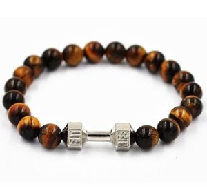 free shipping 20pcs lot Fashion Jewelry Dumbbell Charms Natural Stone Beads Bracelets Bangles Gift 20cm