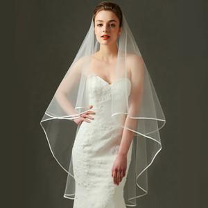 Einfache 2 Schichten Tüll Braut Hochzeit Schleier mit Kamm Neue Ankunft Braut Accessoires Günstige Ivory Veil
