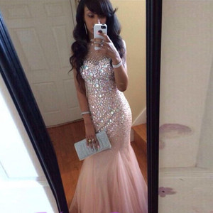 Pink Mermaid Pageant Prom Dresses Cheap 2021 Sheer Neck Bling Crystal Rhinestones Hollow Back With Zipper Long Tulle Evening Formal Gowns