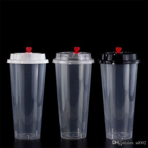 700ml 24oz Disposable Plastic Cups Cold Hot drinks Juice Cup Thicken Transparent Drinks Mug With Lid 135y YY