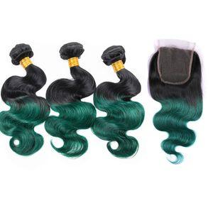 어두운 뿌리 1B 녹색 인간의 머리카락 3 묶음 레이스 클로저 옹버 어두운 녹색 바디 웨이브 인간의 머리 위 클로 지로 짜다