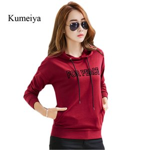 Kumeiya Herbst Frauen Hoodie beiläufige lange Hülsen-mit Kapuze Strickjacke-lose rote weibliche Mädchen-Oberseiten-Mantel