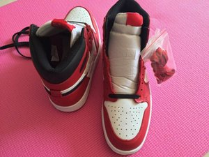 С Box 1 Chicago High OG RED WHITE мужчины обувь баскетбол Я спортивные кроссовки тренеры высокого качества 5-12 Оптовая размер 36-46
