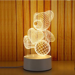 라이트 3D 소형 야간 조명 데스크 램프 선물 램프 USB 터치 원격 제어 독창성 아늑한 머리맡 램프 새로운 Xiaoxiong 7 색
