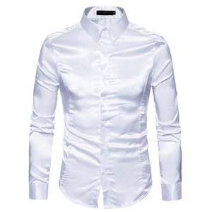 Camicia di seta nera da uomo 2018 Brand New Slim Fit manica lunga in raso di seta Camicia da uomo Business Wedding Sposo Smoking Camicie Uomo