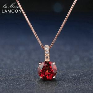 Lamoon 7mm 1.5ct 100% Natürliche Runde Rote Granat 925 Sterling Silber Kette Anhänger Halskette Frauen Schmuck S925 LMNI040 Y18102910