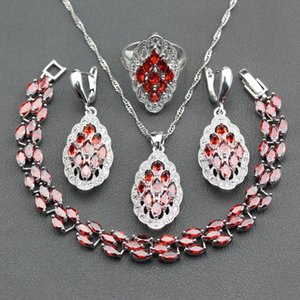 Manny Della Red Garnet Bracelet / Earrings / Pendant / Necklace / Ring Engagement Bridal 925 Silver Five Jewelry Sets para mujeres JS235