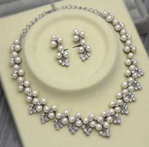 Dark Silver Plated Elfenbein Perle und Strass Kristall Hochzeit Halskette und Ohrringe Schmuck Sets