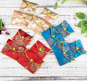 20pcs Farben Blumen Reißverschluss Geldbörse Tasche Klein-Geschenk-Beutel für chinesische Kreditkartenetui Schmuck Silk Beutel-Beutel mischen