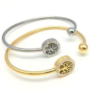 LOOKER Tree of Life strass pavimenta le donne aperte con polsino con bracciale e gioielli in acciaio inossidabile