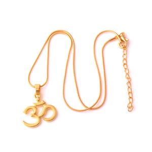 India cor de ouro yoga charme pingente OHM Hindu budista AUM OM Hinduísmo Trigo Cadeia Colar de Jóias