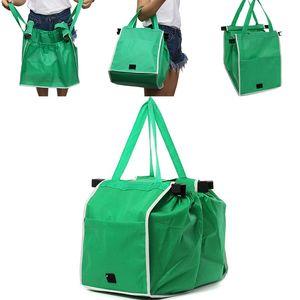 Novo Não Tecido Supermercado Saco de Compras Clipe para Carrinho Saco De Supermercado Dobrável Saco De Armazenamento Reutilizável Grande Capacidade Sacos WX9-757