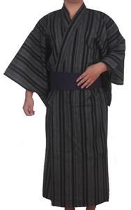 Kimono japonês tradicional homens de algodão robe yukata robe de banho dos homens quimono com cinto uniforme desempenho de palco samurai clothing