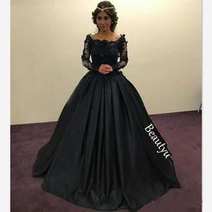 Zarif Siyah Prenses Balo Abiye Uzun Kollu Sheer Dantel Boncuklu Aplikler Scoop Dantelli Akşam Parti Törenlerinde Örgün Balo Elbise