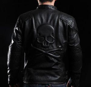 Gola gola 100% jaquetas de couro genuíno selar cabeça do crânio de volta do país jaqueta de motocross