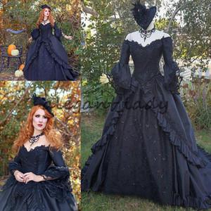 Black Sparkle Marie Antoinette Victorian Gothic Wedding Traje de Traje Costume 2018 Plus Size Longo Manga Vintage Vestidos de Noiva