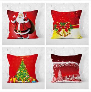 Joyeux Noël Père Noël PillowCase Taie d'oreiller De Noël Canapé Décoration Chien Lettre Coussin Cover Square Décoratif
