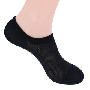 10 pares / lote Socks Men Atacado Meias masculino clássico Breve Bamboo Cotton Invisible Man Shallow Sock Chinelos Boca Meias líquidas