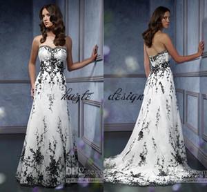 Старинные готические свадебные свадебные платья плюс размер милая черная вышивка акцентированных линии черно-белое свадебное платье
