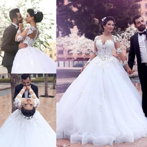 2019 New African Long Sleeve Appliqued Wedding Dresses Vintage A-Line Sweetheart Said Mhamad Tulle Bridal Gowns Court Train Custom Made