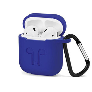 For Apple AirPods Protective Shockproof Silicone Case Pouch With Anti-lost Strap Dust Plug Retail Package Thicken Bluetooth Earphone bag