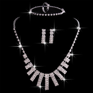 Hot Sale 4 Sets Crystal Bridal Jewelry Sets Silver Artificial Wedding Accessories With Necklace Earrings Ring And wedding bracelets