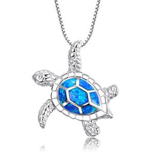 Nova Moda Bonito Prata Cheia De Opala Azul Tartaruga De Mar Colar De Pingente Para Mulheres Animal Feminino Casamento Oceano Praia Jóias Presente