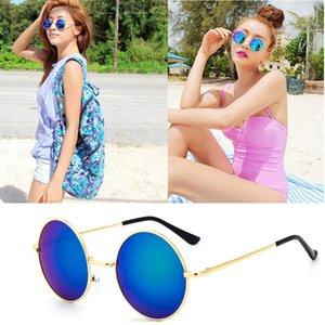 Moda Rodada Óculos De Sol Elegante Metálico Cor Filme Óculos De Sol Reflexivo Brilhante Óculos De Sol