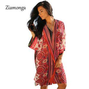 Ziamonga Summer Style Femmes Mode Floral Imprimé Casual Kimono Cardigan Bikini Cover Up Survêtement Boho Blouse Femmes Tops Shirt