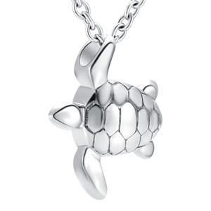 ZZL126 Tono de plata Mini urna Forma de tortuga de mar Charm con tornillo Cenizas Holder Pet Cremation Jewelry Necklace for Women Men Unisex