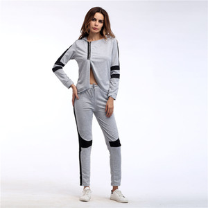 2018 autumn and winter new women's suit stitching hooded long-sleeved shirt elastic waist casual pants two-piece sports suit