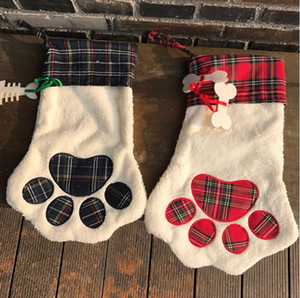 Christmas Stocking Monogrammed Pet Dog Cat Paw Gift Bag Plaid Xmas Stockings Christmas Tree Ornaments Party Decor 2 Styles