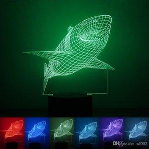 Акула форма светодиодные новинка семь цветов 3D лампа с ABS база Сенсорный выключатель ночные огни для украшения спальни 29rm ZZ