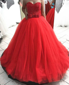 2019 Modest Quinceanera Dresses Dubai Arabic Sweet-heart Luxury Sweet Girl 16 Dress Masquerade Red Tulle Birthday Party Ball Gown