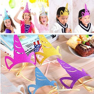 Lentejuelas Unicorn Party sombreros Glitter Unicorn Party Supplies Colored Party Decorations para niños y adultos Accesorios de disfraces cosplay HH7-429