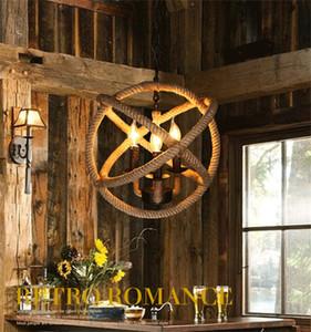 American Village handmade del retro ferro soffitto corda lampada LOFT bar-caffetteria soggiorno lampada a sospensione ristorante personalità, trasporto di goccia agente