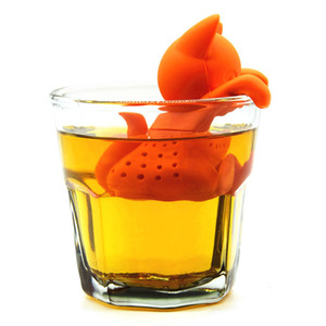 Симпатичный мультфильм Cat Shaped Blacktea чай Infuser чай стрейнер Food Grade Silicone Сыпучие Leaf Herbal специй заваривать инструменты Orange