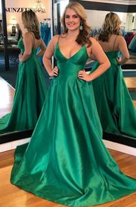 Спагетти ремни V-образным вырезом сексуальные платья выпускного вечера изумрудно-зеленый длинные платья партии простые молодые женщины особый случай платья